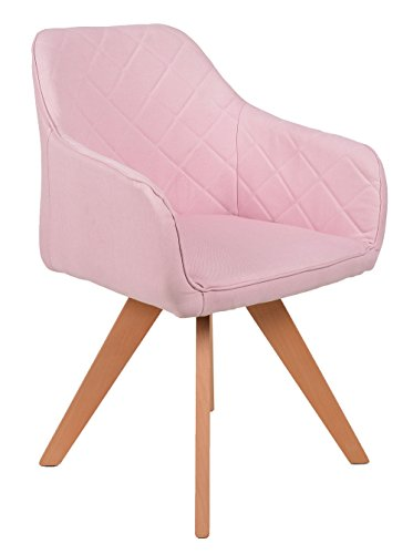 ts-ideen Lounge Design Sessel Barsessel Clubsessel Holz Stoff in Rosa Esszimmer-Stuhl