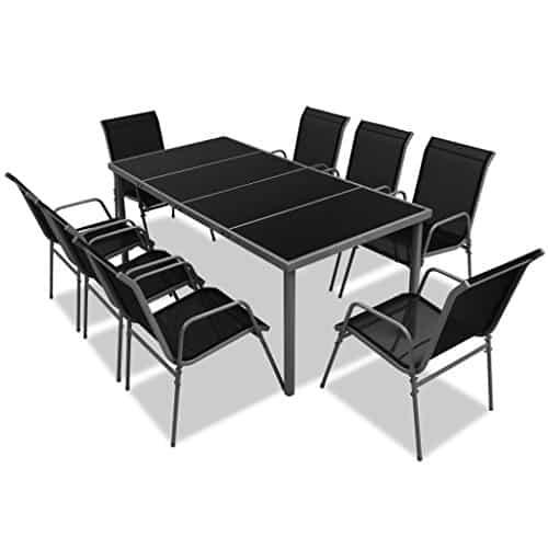 vidaXL-9-tlg-Gartenmbel-Set-Essgruppe-schwarz-0