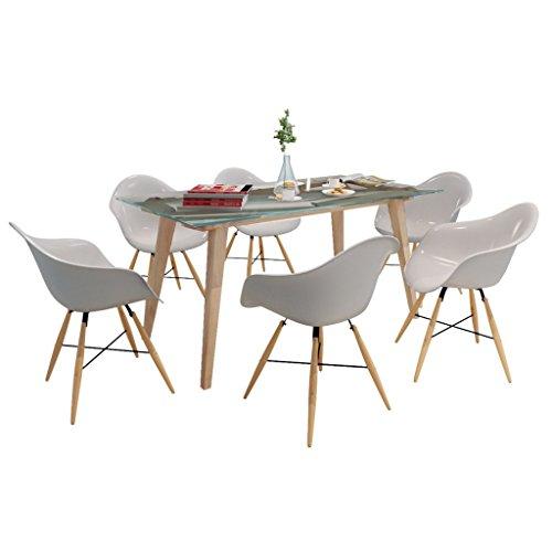 vidaxl esszimmerstuhl mit holzbeinen und armlehnen wei 6 st ck m bel24. Black Bedroom Furniture Sets. Home Design Ideas