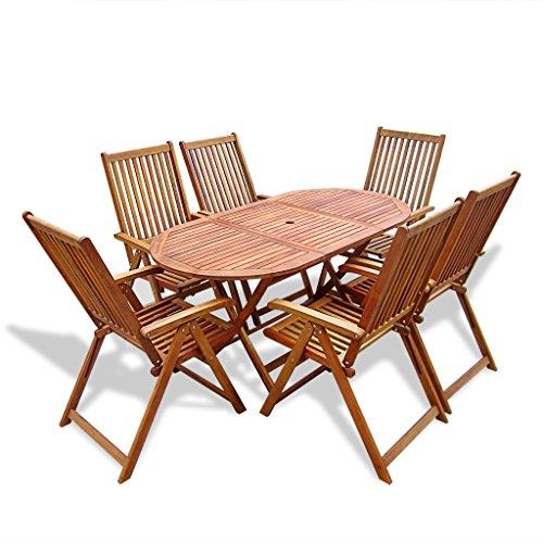 vidaXL Holz Gartenmöbel-Set Essgruppe 6 verstellbare Stühle + 1 ovaler Tisch