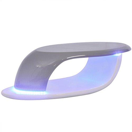vidaXL LED Hochglanz Couchtisch Beistelltisch Wohnzimmer Fiberglas Weiß und Grau